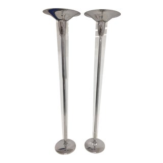 Mid-Century Modern Chrome and Lucite Torchiere Floor Lamps - a Pair For Sale