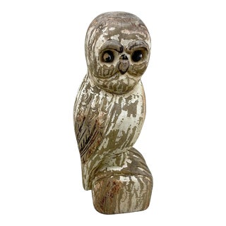 Early 20th Century Hand-Carved Folk Art Wooden Owl For Sale