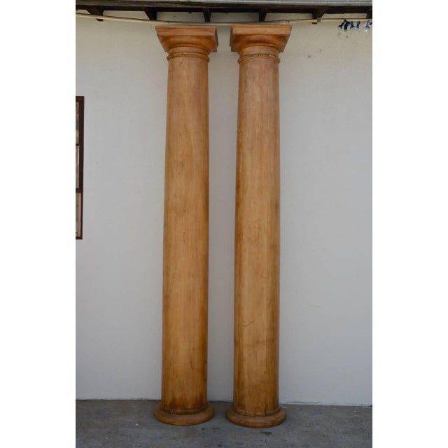Pine 1930s Elegant Tall Fluted Decorative Pine Columns - a Pair For Sale - Image 7 of 7