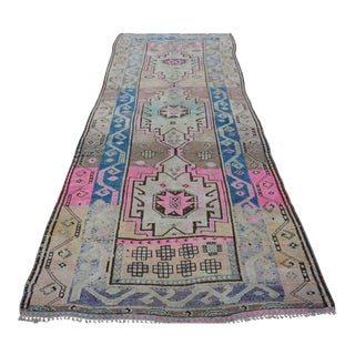 Antique Turkish Handmade Runner Rug - 4′3″ × 11′9″