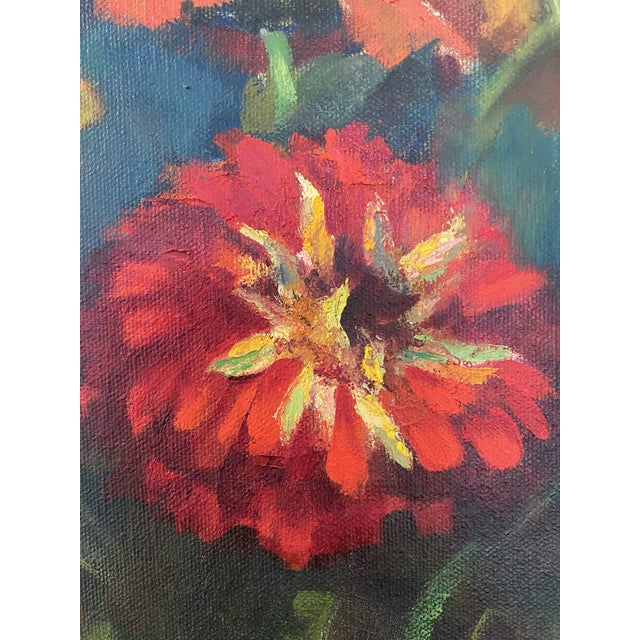 Late 20th Century Late 20th Century Original Still Life of Flowers Oil Painting, Framed For Sale - Image 5 of 13