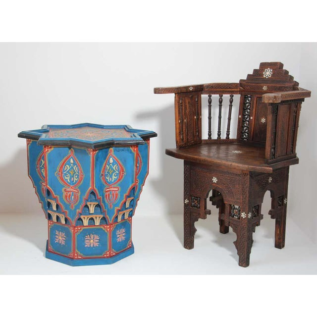Wood Moorish Star Shape Blue Side tables - A Pair For Sale - Image 7 of 13