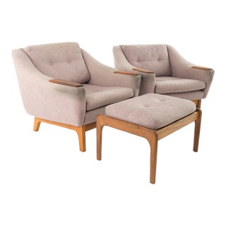 Folke Ohlsson for Dux Mid Century Teak Upholstered Lounge Chairs and Ottoman For Sale