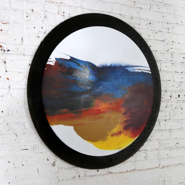 Abstract Abstract Round Acrylic Canvas Painting Mounted on Smoke Plexiglass by Ted R. Lownik For Sale - Image 3 of 13