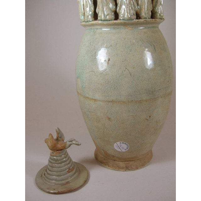 Tall Song Dynasty Molded Yingqing Porcelain Funerary Urn For Sale - Image 7 of 10