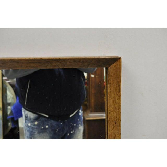 Vintage Mid Century Modernist Walnut Rectangular Wall Dresser Deep Frame Mirror For Sale In Philadelphia - Image 6 of 11