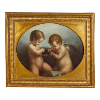 After Antonio Allegri Da Correggio (Italian, 1489-1534) Two Putti Oil Painting For Sale
