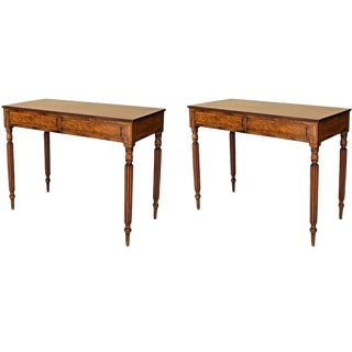20th Century English Georgian Style Mahogany Consoles - a Pair For Sale