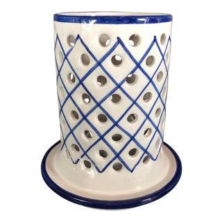 r.c & Cal Da Juncal Porto De Mos Portuguese Ceramic Candle Holder Traditional Blue & White For Sale
