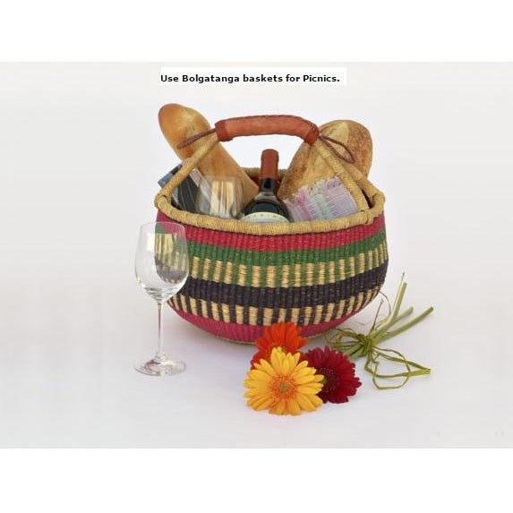 Medium African Bolga Woven Basket For Sale In Dallas - Image 6 of 8