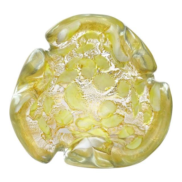 Barovier Toso Murano Vintage Yellow Gold Flecks Italian Art Glass Mid Century Bowl Ashtray Dish For Sale