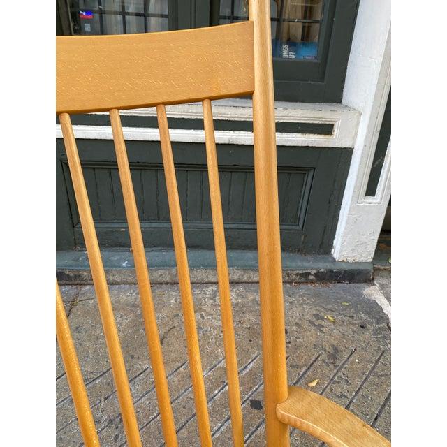 Tan 1960s Vintage Hans Wegner Rocking Chair Model J16 For Sale - Image 8 of 12