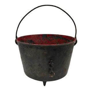 Vintage Chippy Paint Cast Iron Cauldron