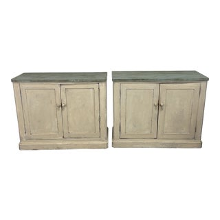 Painted Wood Two Door Cabinets - a Pair For Sale