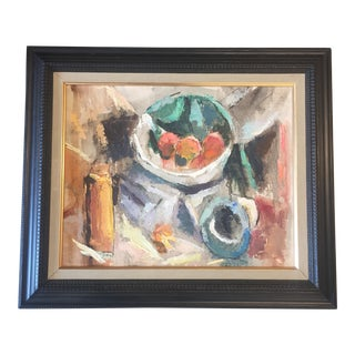 Vintage Modernist Abstract Still Life Painting For Sale