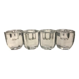1940's Art Deco Octagonal Glass Candle Holders - Set of 4 For Sale