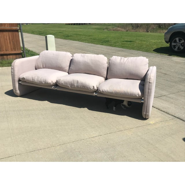 1980s 1980s Vintage Milo Baughman Style Tubular Chrome Sling Three-Seater Sofa For Sale - Image 5 of 11