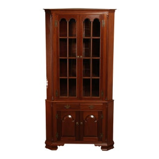 Robert T Hogg Handmade Solid Mahogany Queen Anne Corner Cabinet For Sale