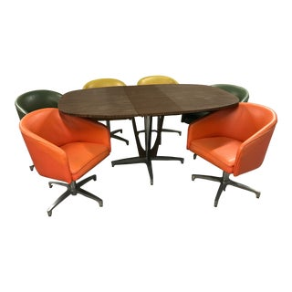 1950s Mid Century Modern Barrel Chair Dining Set by Chromcraft - 7 Pieces For Sale