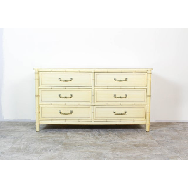 1960s Mid Century Faux Bamboo Dresser, Faux Bamboo Dresser of Six Drawers, Cream Dresser For Sale - Image 5 of 7