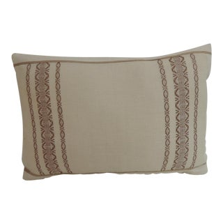 19th Century Petite Greek Isle Embroidery Decorative Lumbar Pillow For Sale