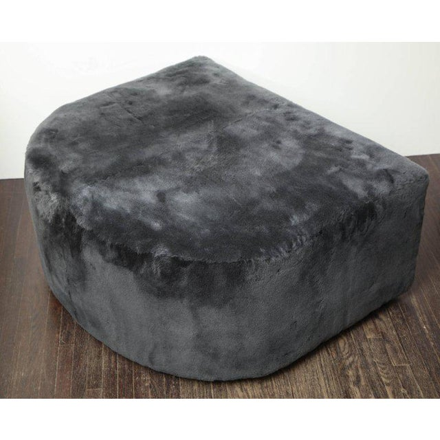 2010s Custom Genuine Shearling Ottoman For Sale - Image 5 of 6