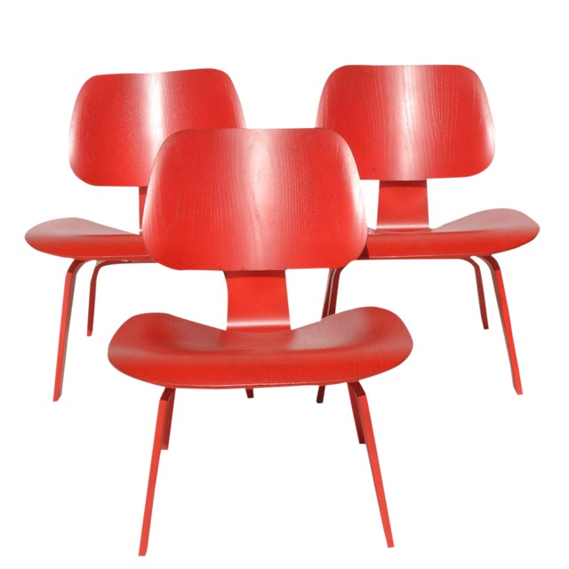Red LCW Molded Lounge Chair - Image 2 of 6