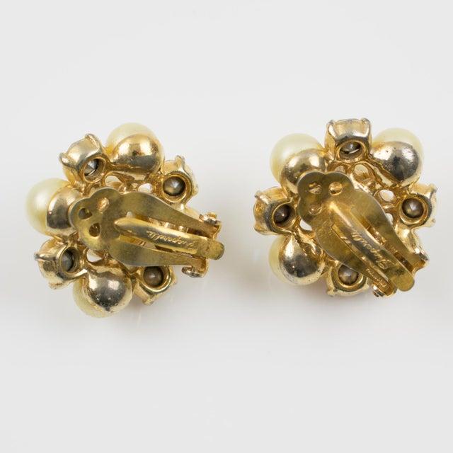 Elsa Schiaparelli 1960s Clip-On Earrings Pearl Imitation & Borealis Rhinestones For Sale - Image 4 of 7