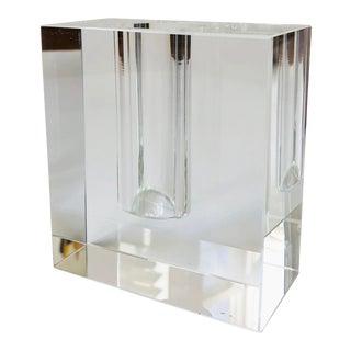 Vintage Blocky Glass Bud Vase For Sale