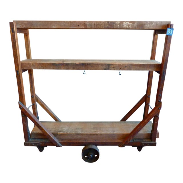 Vintage Industrial Trolly Cart as Open Shelving For Sale