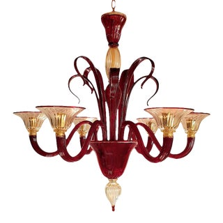 1960s Classical Style Red & Gold Murano Glass Chandelier, Six Lights, Italy For Sale