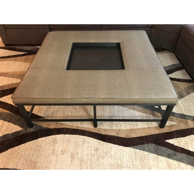 Taupe Transitional Baker Fabric and Steel Square Coffee Table For Sale - Image 8 of 8