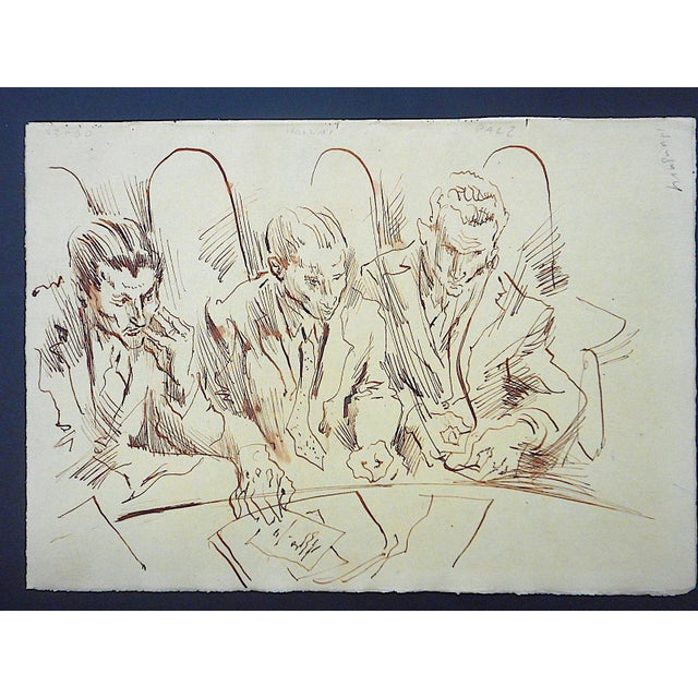 David Fredenthal Original Vintage Mid 20th Century Drawing-D. Fredenthal-Listed American Artist- u.n. Suez Crisis For Sale - Image 4 of 5