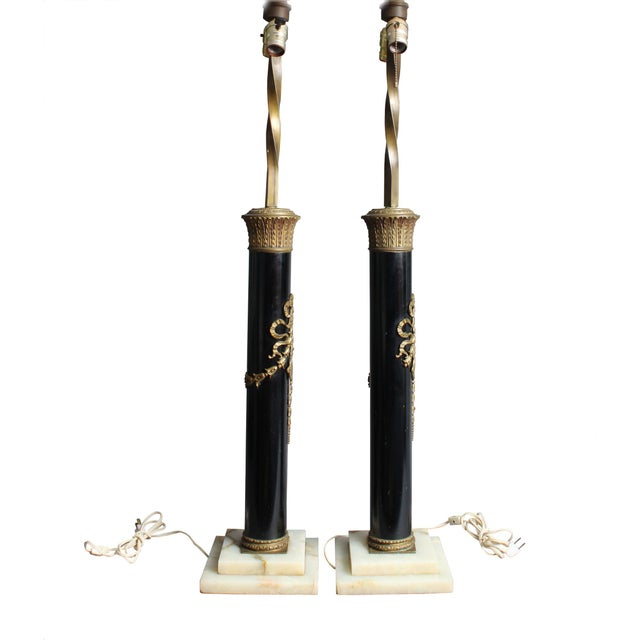 Dramatic Empire-style black column table lamps sit atop vintage marble bases. Perfect Hollywood Regency accent. Decorative...