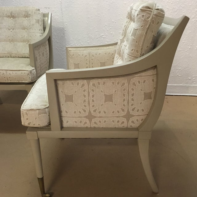 Vintage Mid-Century Taupe Armchairs - A Pair - Image 6 of 7
