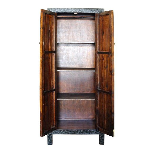 1990s Chinese Distressed Green Blue Armoire For Sale - Image 5 of 6