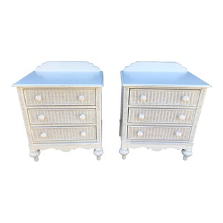 1980s Boho Chic Lexington Rattan and Wood Nightstands - a Pair For Sale