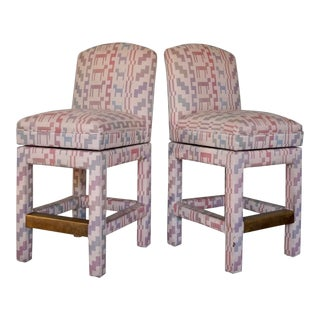 Post-Modern Hollywood Regency Counter Stools- A Pair For Sale