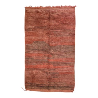 "Vintage 1970 Moroccan Berber Rug 4'10""x 8' Earth, Lava and Sunset Colors For Sale"