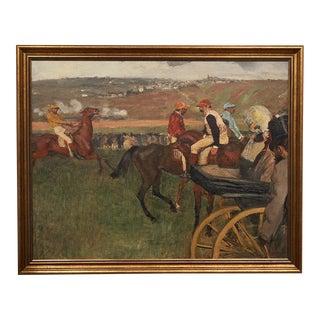 The Race Course, Amateur Jockeys Near a Carriage, Framed Canvas Print, by Edgar Degas For Sale