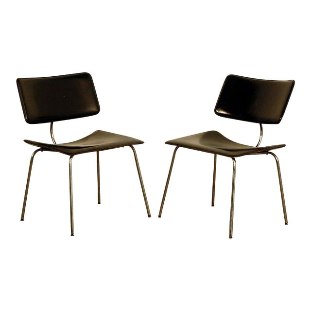 1970s Slender Italian Stitched Leather Lounge Chairs - a Pair For Sale