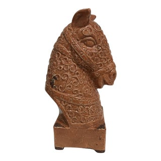 Mid-Century Bitossi Style Orange Pottery Horse Bust For Sale
