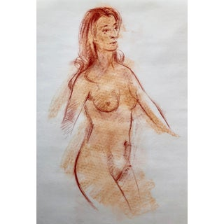 """Original Red Chalk Nude Sketch-18""""x22"""" For Sale"""