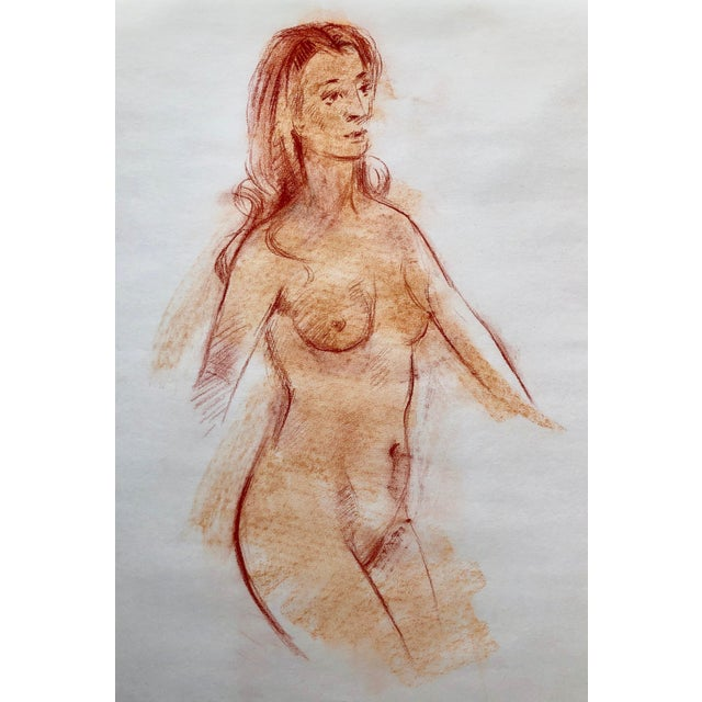 "Original Red Chalk Nude Sketch-18""x22"" For Sale"