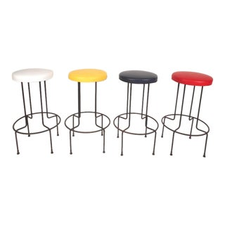 Set of Mid-Century Modern Wrought Iron Bar Stools by Frederick Weinburg For Sale