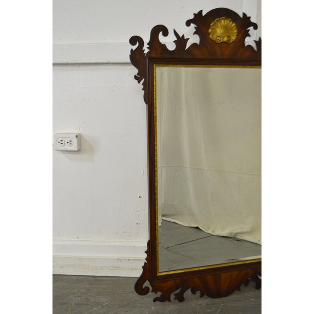 Henkel Harris Flame Mahogany Shell Carved Chippendale Style Wall Mirror For Sale - Image 10 of 10