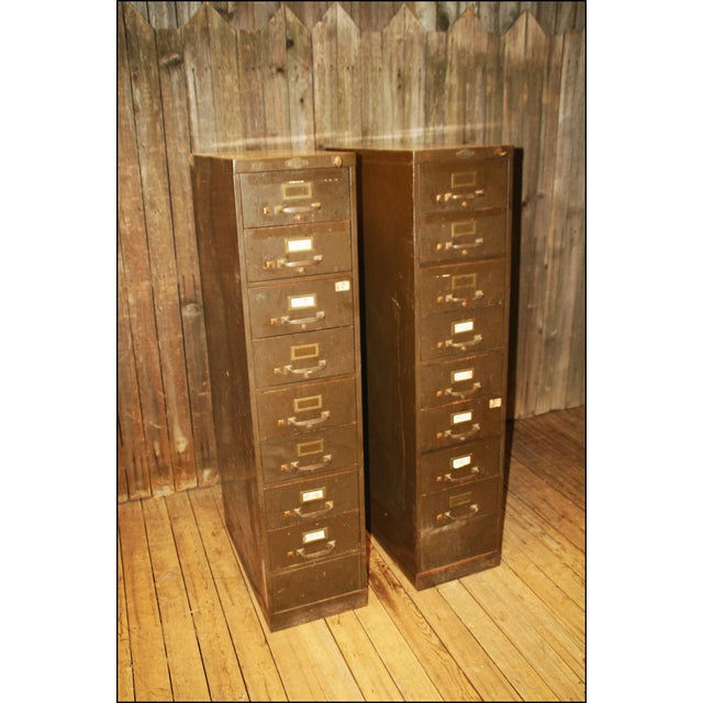 Vintage Industrial Metal Filing Cabinets - Pair - Image 2 of 11