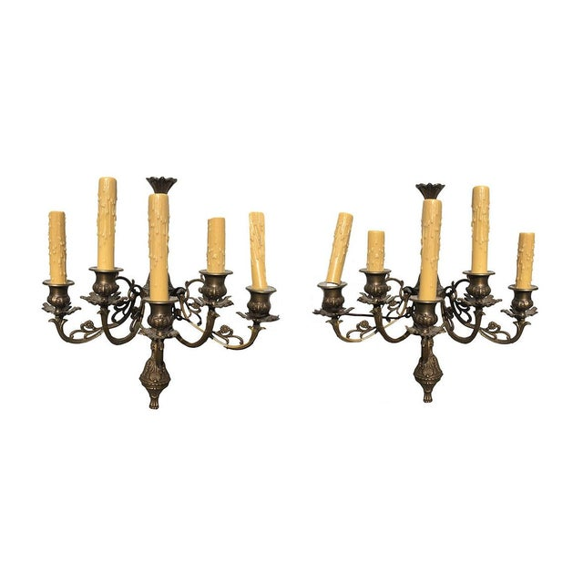 1900 - 1909 French Bronze Antique Wall Sconces - a Pair For Sale - Image 5 of 5