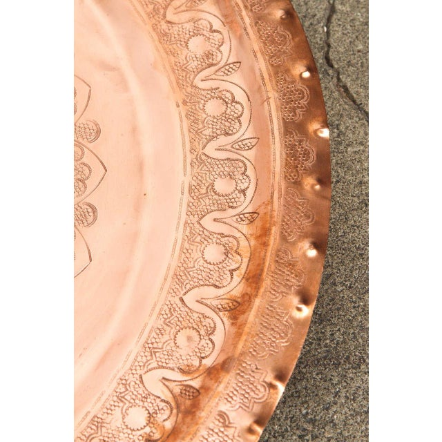 Metal Large Antique Moroccan Copper Tray For Sale - Image 7 of 9