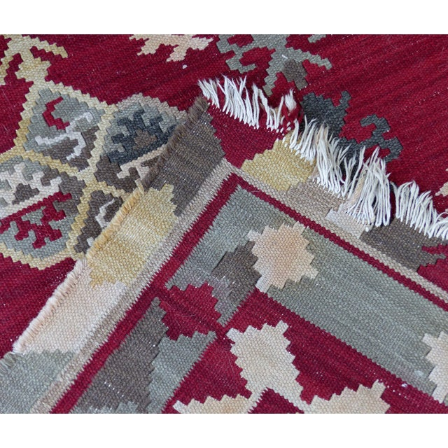 """Red Handmade Kilim Rug - 7'8"""" X 5'3"""" For Sale - Image 8 of 9"""